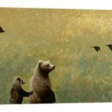 Ptm Images, Blackbirds And Bear Family Decorative Canvas Wall Art