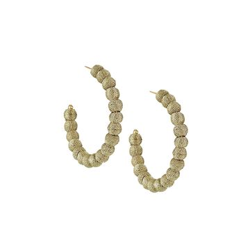 Thread-Wrapped Ball Hoop Earrings, Gold