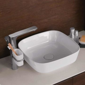 Ronbow Arena White Ceramic 16-inch Rounded Square Above-counter No Overflow Vessel Sink