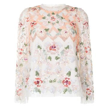 Harlequin Rose sequin embellished top