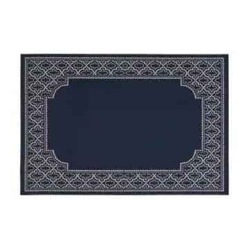 Midnight Outdoor Border Fabric Navy and Ivory Area Rug by Christopher Knight Home (5'3