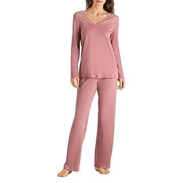 Hanro Moments Lace-Trim Cotton Long Sleeve Pajama Set