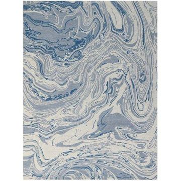 Marbled Light Blue Hand-Tufted Area Rug 5'x7'6