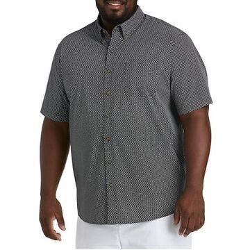 Big & Tall Harbor Bay Easy-Care Mini Floral Sport Shirt - Black/White