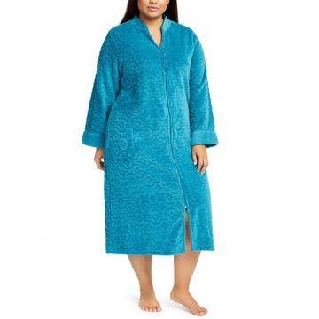Plus Size Jacquard Cuddle Fleece Long Zipper Robe