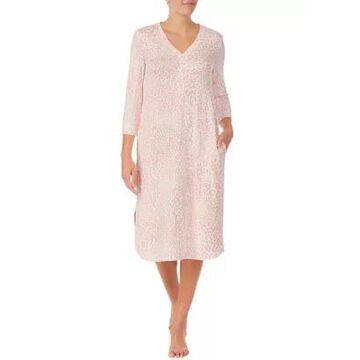 Ellen Tracy Women's 3/4 Sleeve Animal Print Midi Nightgown - -