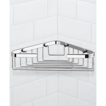 General Hotel Chrome Corner Wall-Mounted Wire Shower Basket