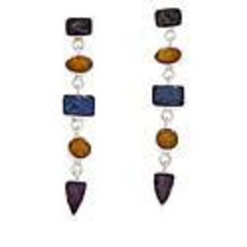 Mine Finds by Jay King Sterling Silver Multi-Color Sapphire Drop Earrings