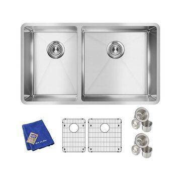 Elkay Crosstown Undermount 31.5-in x 18.5-in Polished Satin Double Offset Bowl Kitchen Sink