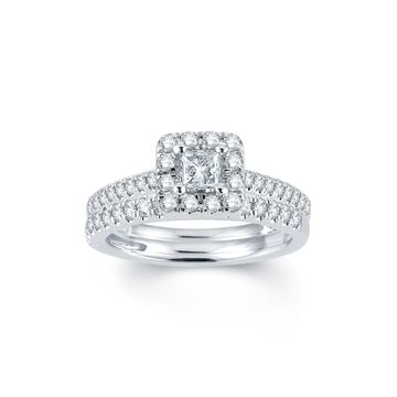 Modern Bride Signature 1 CT. T.W. Diamond 14K White Gold Engagement Ring