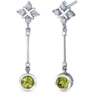 2.00 Carat T.G.W. Round-Cut Peridot Rhodium over Sterling Silver Drop Earrings