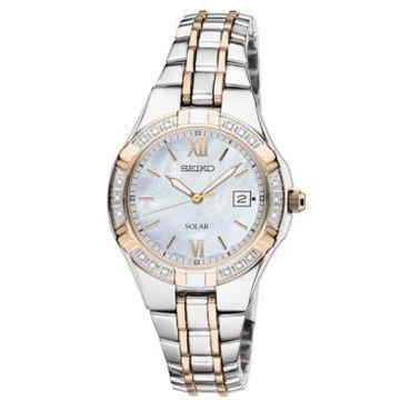 Seiko Watch, Women's Solar Diamond Accent Two Tone Stainless Steel Bracelet 27mm SUT068