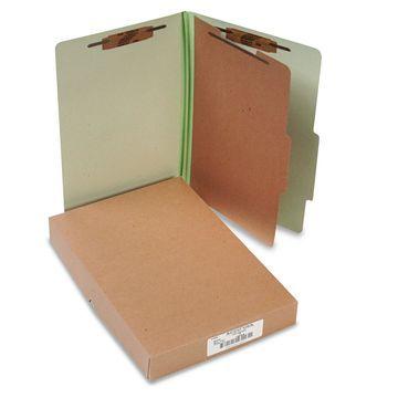 Acco Pressboard 25-Pt Classification Folders Legal 4-Section Leaf Green 10/Box
