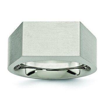 Primal Steel Titanium Polished and Brushed Signet Ring