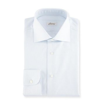 Dot-Print Cotton Dress Shirt