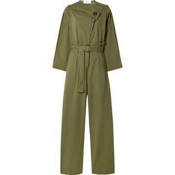 SEA - Scout Belted Cotton-blend Jumpsuit - Army green