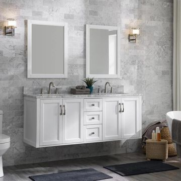 allen + roth Floating 60-in White Undermount Double Sink Bathroom Vanity with Natural Carrara Marble Top   1315VA-60-201