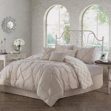 Avondale Manor Ella Pinch Pleat Comforter Set, Beig/Green, Twin