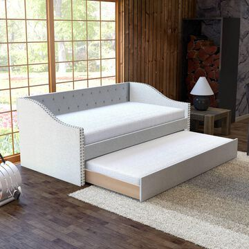 Premier Vermont White Upholstered Tufted Daybed with Trundle Bed, Twin Box 2 of 2, Back Rest & Trundle