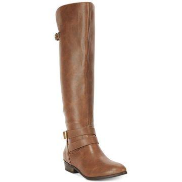 Material Girl Womens mcarleigh Closed Toe Knee High Fashion Boots - Cognac - 7.5