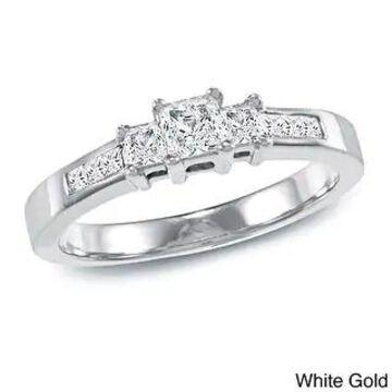 Auriya 14k Gold 1/2ctw 3-Stone Princess-cut Diamond Engagement Ring
