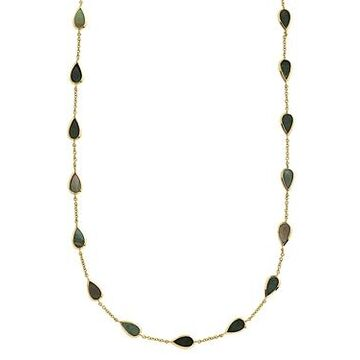 Ippolita 18K Yellow Gold Polished Rock Candy Black Shell Mini Pear Station Necklace, 18