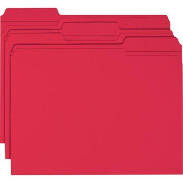 Smead Color File Folders, With Reinforced Tabs, Letter Size, 1/3 Cut, Red, Box Of 100