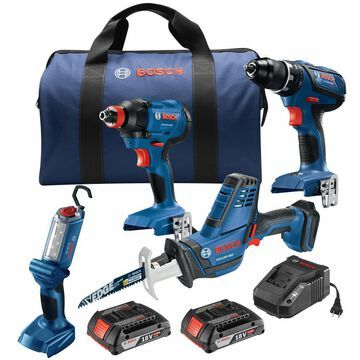 Bosch 4-Tool 18-Volt Lithium Ion Power Tool Combo Kit with Soft Case (Charger and 2-Batteries Included)   GXL18V-496B22