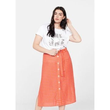 Violeta BY MANGO - Gingham print skirt fuchsia - XS - Plus sizes