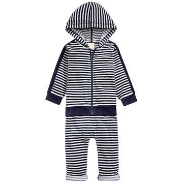 Baby Boys 2-Pc. Striped Velour Hoodie & Pants Set, Created For Macy's