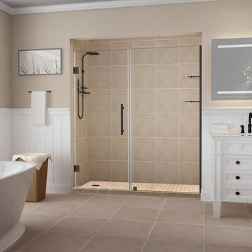 Aston Belmore GS 72-in H x 67-1/4-in to 68-1/4-in W Frameless Hinged Shower Door (Clear Glass)   SDR960EZORB683410