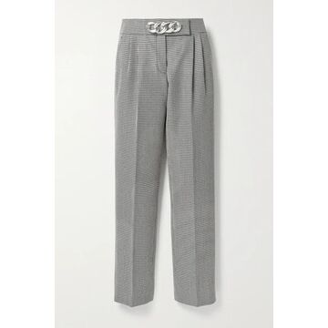Alexander Wang - Chain-embellished Houndstooth Wool-blend Straight-leg Pants - Black