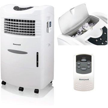 Honeywell 470-659CFM Portable Evaporative Cooler, Fan & Humidifier with Ice Compartment & Remote, CL201AEW, White