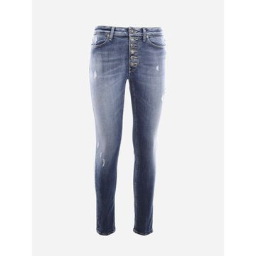 Dondup Super Skinny Jeans In Stretch Cotton With Jewel Buttons Detail