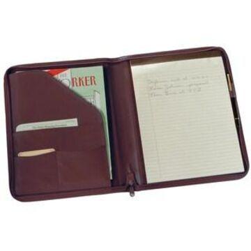 Royce Leather Zip Around Writing Genuine Leather Padfolio (Burgundy)