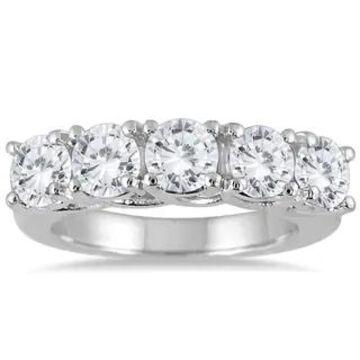 Marquee Jewels 14k White Gold 3ct TDW Prong 5-stone Diamond Wedding Band (J-K, I2-I3)