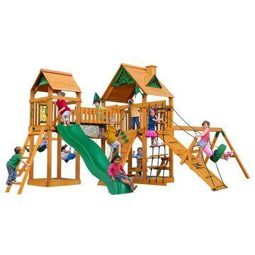Gorilla Playsets Pioneer Peak Cedar Swing Set with Natural Cedar Posts