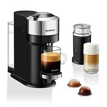 Nespresso Next Deluxe by De'Longhi with Aeroccino Milk Frother, Pure Chrome