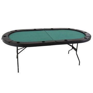 Triumph Folding Poker Table with Padded Felt Playing Surface, Casino-Style Padded Arm Rests, and 10 Drink Holders