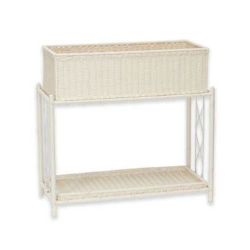 Household Essentials Resin Wicker Plant Stand with Tray in White