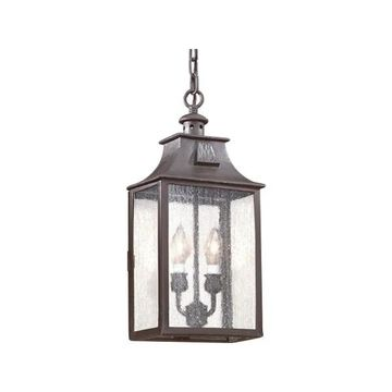 Newton, Outdoor Pendant, Old Bronze Finish, Clear Seeded Glass