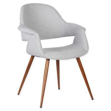 Armen Living Phoebe Wood Upholstered Dining Chair In Walnut/grey