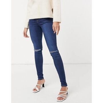 Dr Denim Plenty skinny jeans with ripped knee in blue-Blues