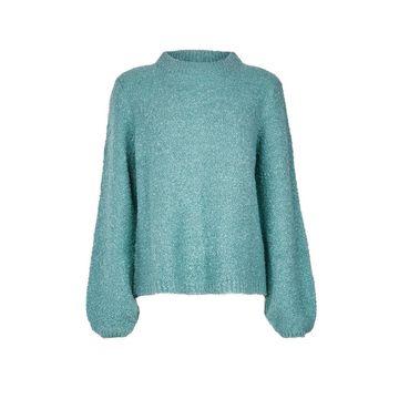 **Vila Blue Knitted Funnel Neck Jumper