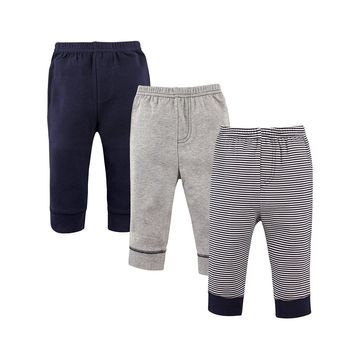 Luvable Friends Boys' Casual Pants Stripe - Navy & Gray Stripe Tapered-Ankle Sweatpants Set - Toddler