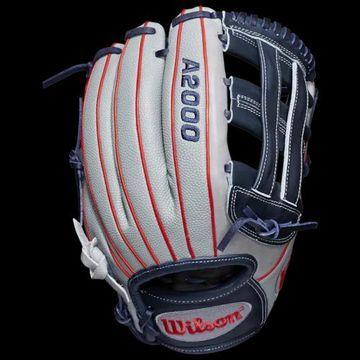 Wilson A2000 Superskin Fastpitch Glove - Grey / Red