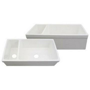 Whitehaus Large Quatro Alcove Reversible Fireclay Sink And Small Bowl - White