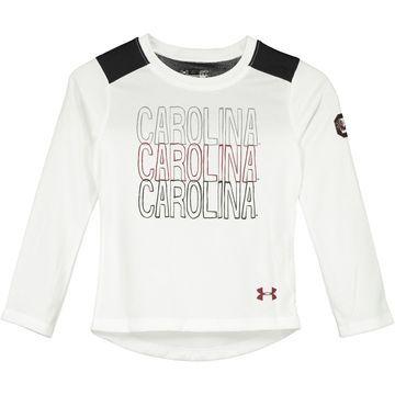 South Carolina Gamecocks Under Armour Girls Toddler Nu Performance Long Sleeve T-Shirt - White