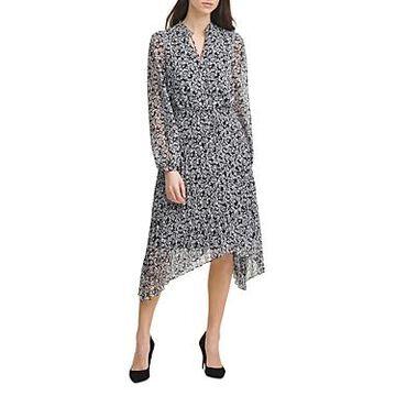 Karl Lagerfeld Paris Floral Print Chiffon Asymmetric Hem Dress