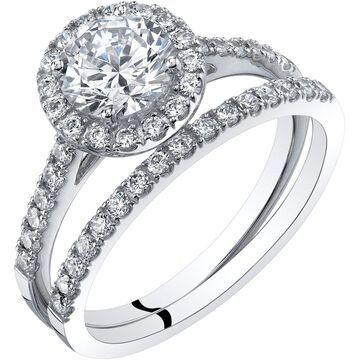 Oravo 14K White Gold Halo Engagament Ring and Wedding Band Bridal Set